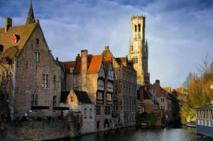 Dijver and the Belfort tower by roman-gp