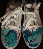 Painted shoes hippos by karka17