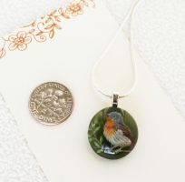 Unique glass pendant. Forest bird. by HappyGlassJewelryArt