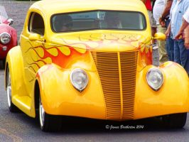 Yellow 1937 Custom Ford Coupe by jim88bro