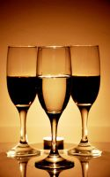 Glass of White and Red wine by aydnahmet
