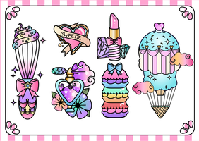 Girly Flash Tattoo Designs by WhippedCreamCake