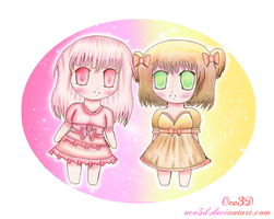 Strawberry Princess and Chocolate Princess Chibis by Oce3D