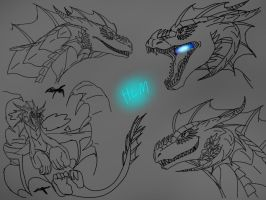 Megadragon sketches by ShardianofWhiteFire