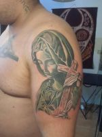virgin Mary color tattoo by Marleytattooart