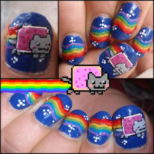 nyan cat nails by ~JawsOfKita-LoveHim