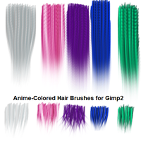 5 AnimeColor Gimp2 Hairbrushes by jddndrbz