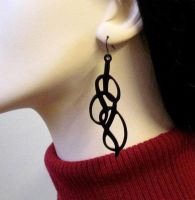 Swirl abstract ornament earrings by baronyka