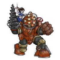 BIOSHOCK BIG DADDY AND LITTLE SISTER by CThompsonArt