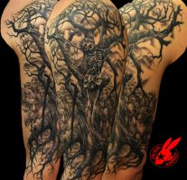 Jesus Tree Sleeve Tattoo by Jackie Rabbit by jackierabbit12