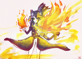 She's just a girl and she's on fire /Human Blaze by YamiMana