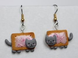 Nyan-Cat Earrings [fimo] by PaleMint