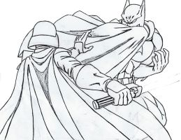 Batman vs Darth Vader sketch by scorpmanx