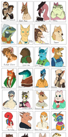 Paws and Claws Cafe characters by umbbe