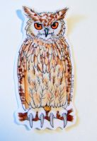 Owl Sticker - Handdrawn by Ukeaco