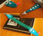 Bookwyrm bookmark- turquoise/teal and white by WhimsicalSquidCo
