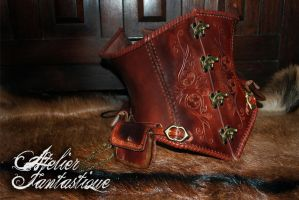 Daelys steampunk leather underbust by AtelierFantastique