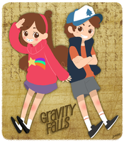 Dipper and Mabel by superdonut