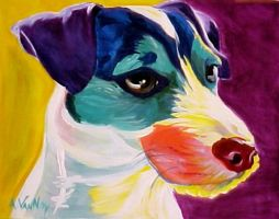 Jack Russell Rainbow by dawgart