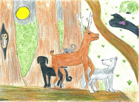 Moony, Wormtail, Padfoot and Prongs. by LeDissendium
