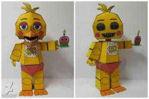 five nights at freddy's 2 Toy Chica Papercraft by Adogopaper