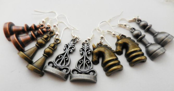 Chess Piece Earrings (set of five) by crystalcorgiboutique