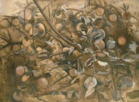 Apples on Apple Tree Branches. 2004 by Yudaev