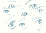 Eye sketches by Moophles