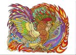 Bantam Phoenix lineart by rachaelm5 colored by tefas90