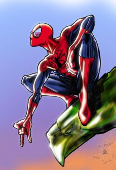 SpideyReflecting by -gazrob-