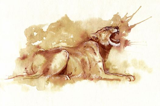 Coffee and Ink Lioness by wolf-minori