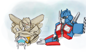 Starscream likes baby Jazz by GoreChick