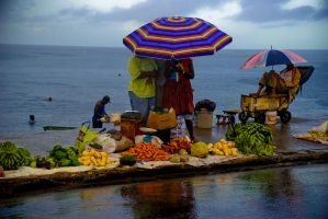 Rain in the Market by the Sea by eva44
