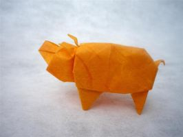 Pig from birdbase - Origami by mitanei
