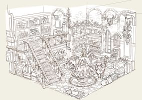 Potion Shop Lineart by anacathie