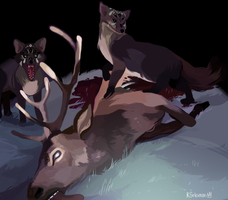 Death by multi-eyed foxes by ElReySolomon