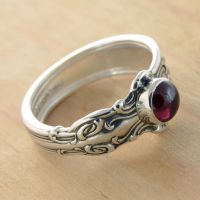 Spoon Ring with Rhodo Garnet by metalsmitten