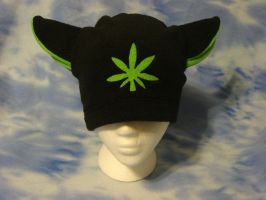 Black and Green Leaf Kitty Hat by HatcoreHats