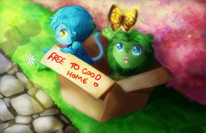 Adopt us Plz? Bluemonkey and Weedlion by binoftrash