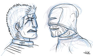 Deadpool And Cable Sketch by HollowThinker