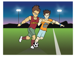 Fodtin and Parker Playing Soccer_basic color by Vegeta-Draws
