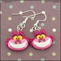 Cheshire Cat Earrings by junosama