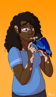 Eir and her lovebird by Viccinor