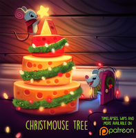 Daily Paint 1491. Christmouse Tree by Cryptid-Creations