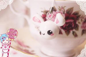 kawaii bunny charm by CandyStripedCafe
