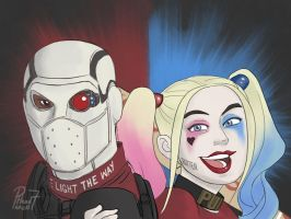 Deadshot and Harley by pencilHead7