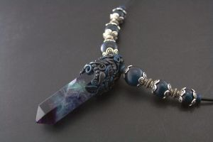 fluorite capped polymer clay necklace by ArtfulParadox