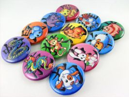 Chinese Zodiac Buttons by car2in-bitz
