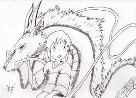 Spirited Away, Chihiro and Haku by Zimmander