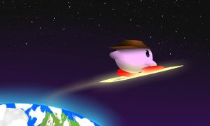 Kirby space surfing by LordDivinity